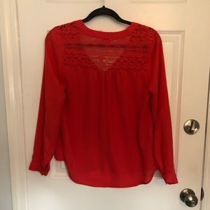 Candie's Tops - Candies Red Long Sleeve Chiffon Size Medium